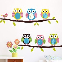 2014 New Cute Colorful OWL Family Branch Buterfly PVC Wall Stickers Decal Home Decor For Kids