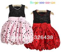 (5pieces/lot)Children's dresses girls dress Flowers dress girls dot princess Vest dress summer