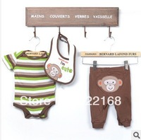 3pcs/set cute monkery baby clothing set Romper baby jumpsuit pants coveralls bibs free shipping