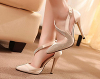 2014 Brand High Heels Women Pumps Pointed Woman Stilettos PU Thin Heel Shoes Female Rhinestone Summer Shoe 10Cm ZG318-18