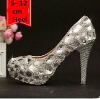 women pumps 2014 NEW ARRIVAL silver big rhinestone high heels silver crystal high heel bridal wedding shoes pump