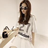 Nana fashion preppy style 27 letter embroidery silver personality loose plus size t-shirt