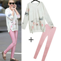 Nana fashion o-neck fashion elegant print sweatshirt elastic slim basic skinny pants