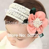 children baby girls hair accessories kids ribbon  high elastic chiffon flowers headdress large flower 2014 hair styling TS-0001