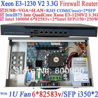 Universal Access Routers 1U Firewall Barebone with two SFP intel i350 six 82583v Gigabit lan Inte Quad Core Xeon E3-1230 V2 3.3G