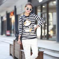 2014 spring long-sleeve T-shirt stripe basic shirt female cartoon shirt mnyz9910