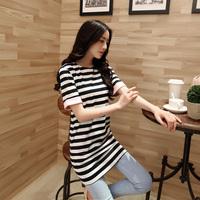Spring 2014 o-neck women's basic shirt short-sleeve T-shirt stripe long summer design plus size jl8815