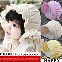 Spring elastic child princess hat cotton child 100% tire cap baby bonnet