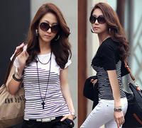 Free shipping 2014 summer women's Basic shirt Black and white stripe slim T-shirt female short-sleeve cotton Coat