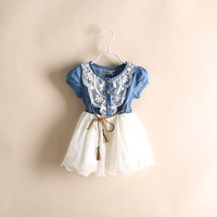 Wholesale Summer Girl Puff Sleeve Denim Lace Dress  Kids Cowboy  Dress With Belt Children's Wear 5pieces/lot Free Shipping