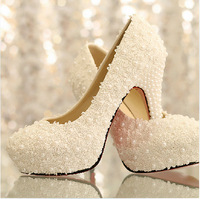 2014 NEW ARRIVAL high heel wedding shoes lace pearl bridal wedding shoes pump