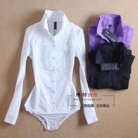 HL-34 Ladies blouses Summer New 2014 Women White long-sleeve shirt One piece shirt Body shirt Female body blouse Body feminino
