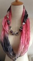 Mini$10,  mixed items,  New Fashion Beads Pendant Printing Chiffon Pink Scarf, Free shipping