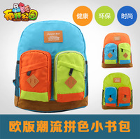 2014 waterproof neon color block decoration and infants school bag male backpack bag