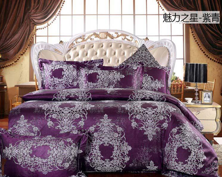 Luxury tribute silk satin jacquard/cotton Purple lilac 4pcs wedding bedding set/comforter/duvet cover set/B2324 Queen/King size(China (Mainland))