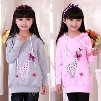 free shipping  sweatshirt spring and autumn girl's spring 2014 top medium-long spring long-sleeve children's clothing 8803