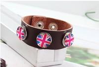British Style Fashion DIY Time Gems Snaps Wide Leather Bracelet Jewelry