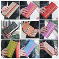 2014 new Korean fashion lady's long wallet multifunction dual fold hollow Clutch PU leather women wallet purse free shipping