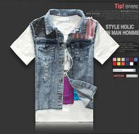 2014 Fashion Designer Mens Star Rivet Sleeveless Jackets , Male Patchwork Slim Fit Blue Jean Vest , Denim Jacket Coat For Men