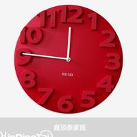 Fashion rustic fashion 3d three-dimensional relief digital clock and watch wall clock