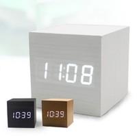 Silent mini wood clock led clock lazy alarm clock electronic clock wool voice clock