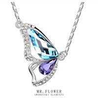 brand 2014 fashion butterfly austrian crystal necklace women