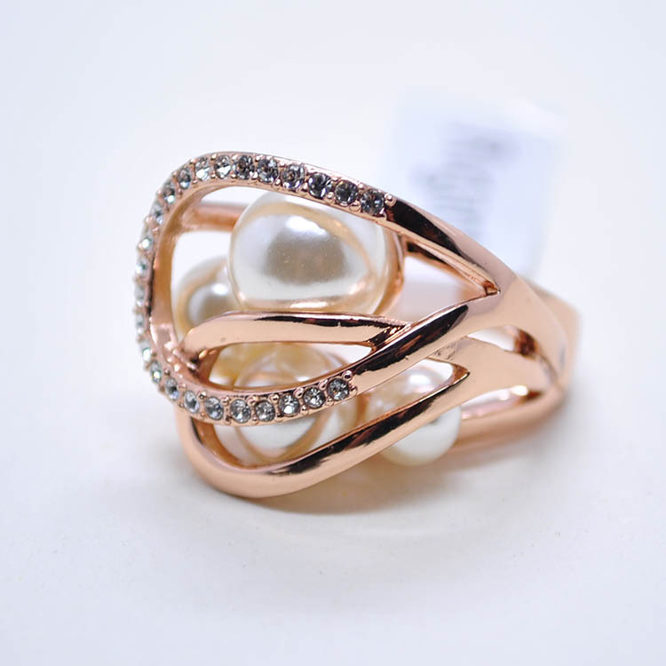 Hot sale Rigant genuine jewelry wholesale fashion big noble exquisite pearl inlaid drill finger ring(China (Mainland))