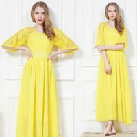 Free shipping 2014 Quality Women's summer yellow lace dress chiffon one-piece fashion bohemia beach full dress S M L XL+Hot sell