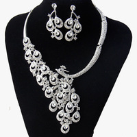 Peacock 18K Gold Plated Clear Austrian Crystal Rhinestone Earing and Necklace Wedding Accessories Bride Jewelry Sets Wholesale
