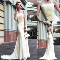 Dorisqueen cheap free shipping mermaid ruffle formal evening dresses court train prom dresses 2014 30550& best price