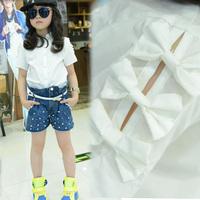 What's Hot Children's clothing 2014 summer short-sleeve female child shirt children child baby 100% cotton white shirt