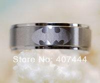 Free Shipping USA UK Canada Russia Brazil Hot Sales 8MM Silver Step Brushed Top Super Batman Men's Tungsten Carbide Wedding Ring
