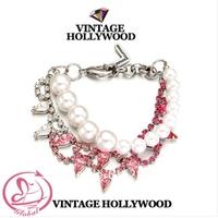 D-4154 Fashion New Vintage Hollywood Bracelets 14ss Gradual Change Crystal Double-Deck Bracelets For Women Bangles Jewelry