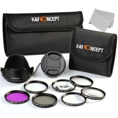 ND2+ND4+ND8+Graduated Color Blue, Orange, Gray Filter Pouch Center Pinch Lens Cap K/&F Concept 55mm 6pcs Slim Lens Filter Kit Flower Petal Lens Hood + Microfiber Lens Cleaning Cloth