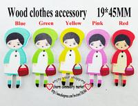 100PCS 5pattern mixed girl design cartoon wooden button diy clothes accessories scrapbook WCF-011