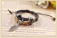 A Leafy Bohemian Beaded Wooden Beads Braided Leather Bracelet Jewelry