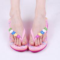 Vietnam shoes summer beach slippers platform Women flower high-heeled female flip flops wedges flip slippers