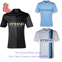 A+++ Man City Black 2014 Player Version Thai New 13 14 Manchester Men Meninos Soccer Jersey footbal Soccerjersey Custom