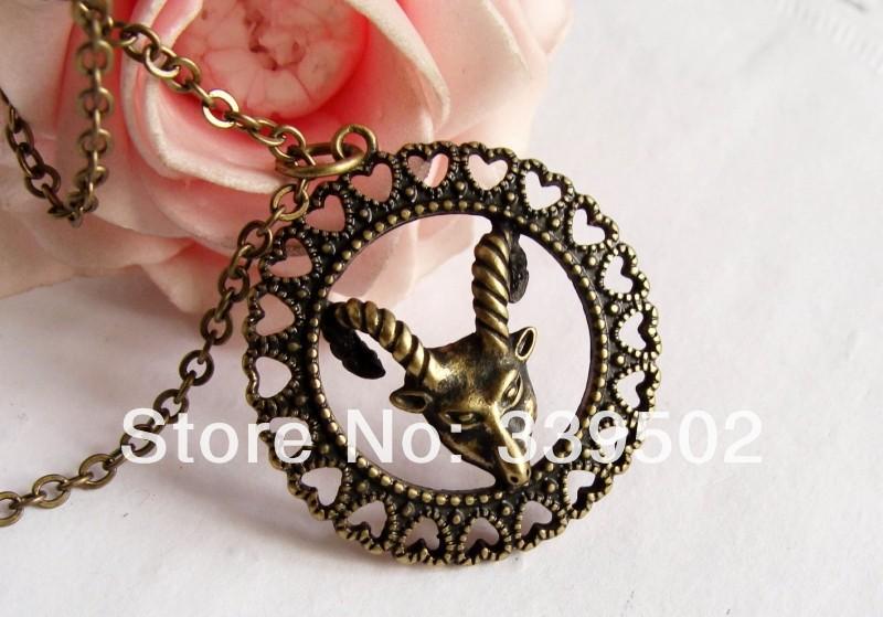 free shipping 12pcs/lot fashion jewelry items metal aries goat zodiac pendant necklace(China (Mainland))