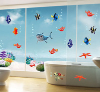 (Min order is $10) Finding Nemo Under The Sea Shark Fish Wall Stickers In The Bathroom Fridge For Decoration AY617