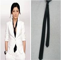 Casual black white silver tie small tie