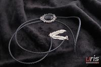 2 tie bow tie bolo tie necklace handmade vintage denim