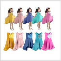 Retail 1pcs Free shipping! 2014 new summer baby girl dresses candy color style Big flower girls' dresses