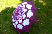 Purple Embroidered Battenburg  Lace Parasol Wedding Bridal umbrella