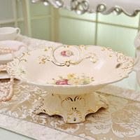 Fashion decoration ivory ceramic home decoration candy tray basin