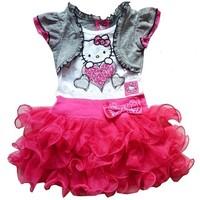 SQ124, new fashion 2014 very beautiful girl dress kids cartoon hello kitty princess dresses children clothing free shipping