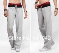 hot 2014 New Men Casual Sports Pants/ loose male trousers/Loungewear and nightwear,Black&Gray