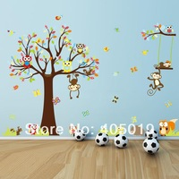 New 2014 Free Express Original Hi-Quality Owl Tree Wall Stickers for Kids Rooms Home Decor SGS Removable PVC Transparent Edge