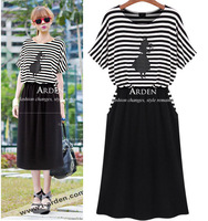 Fashion normic stripe short-sleeve dress modal plus size clothing mm faux two piece pleated skirt