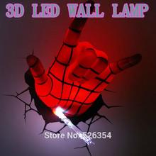Avengers Series New Creative Spiderman Hand lifelike 3D Wall Lamps Bedroom Funny Kid Sleeping Light Decoration(China (Mainland))